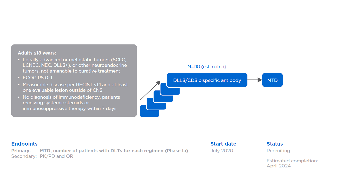 DLL3/CD3 bispecific antibody: NCT04429087 (1438.1)