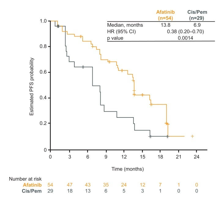 Figure for PFS in Japanese patients; afatinib vs cis/pem