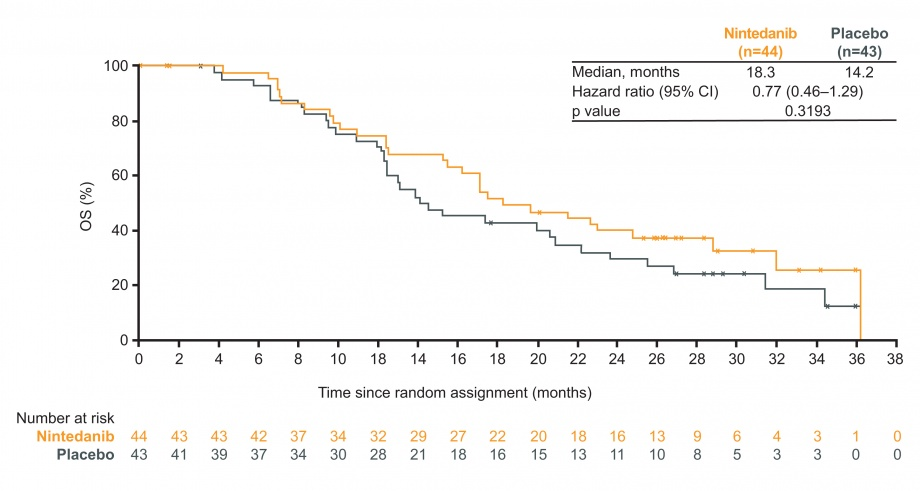 LUME-Meso Phase II: figure for overall survival (OS) in the overall population