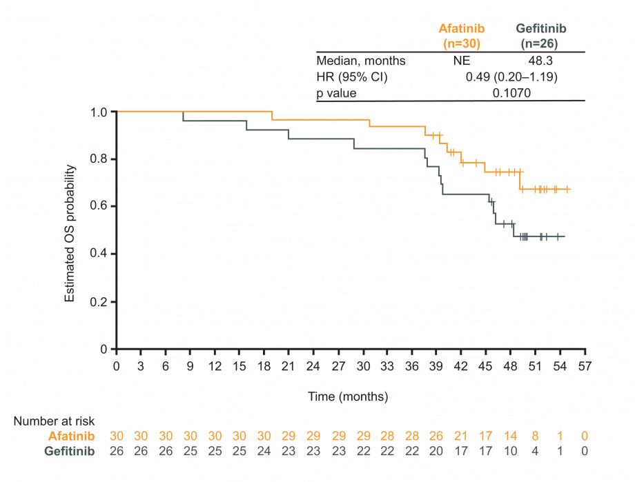 OS in LUX-Lung 7 patients treated with a subsequent third-generation EGFR TKI