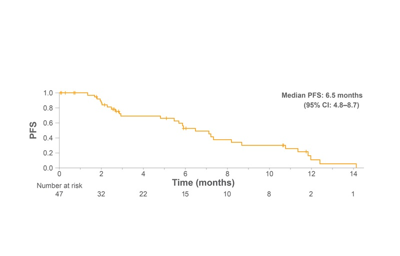PFS from the start of third-line nintedanib plus docetaxel after failure of ICI therapy