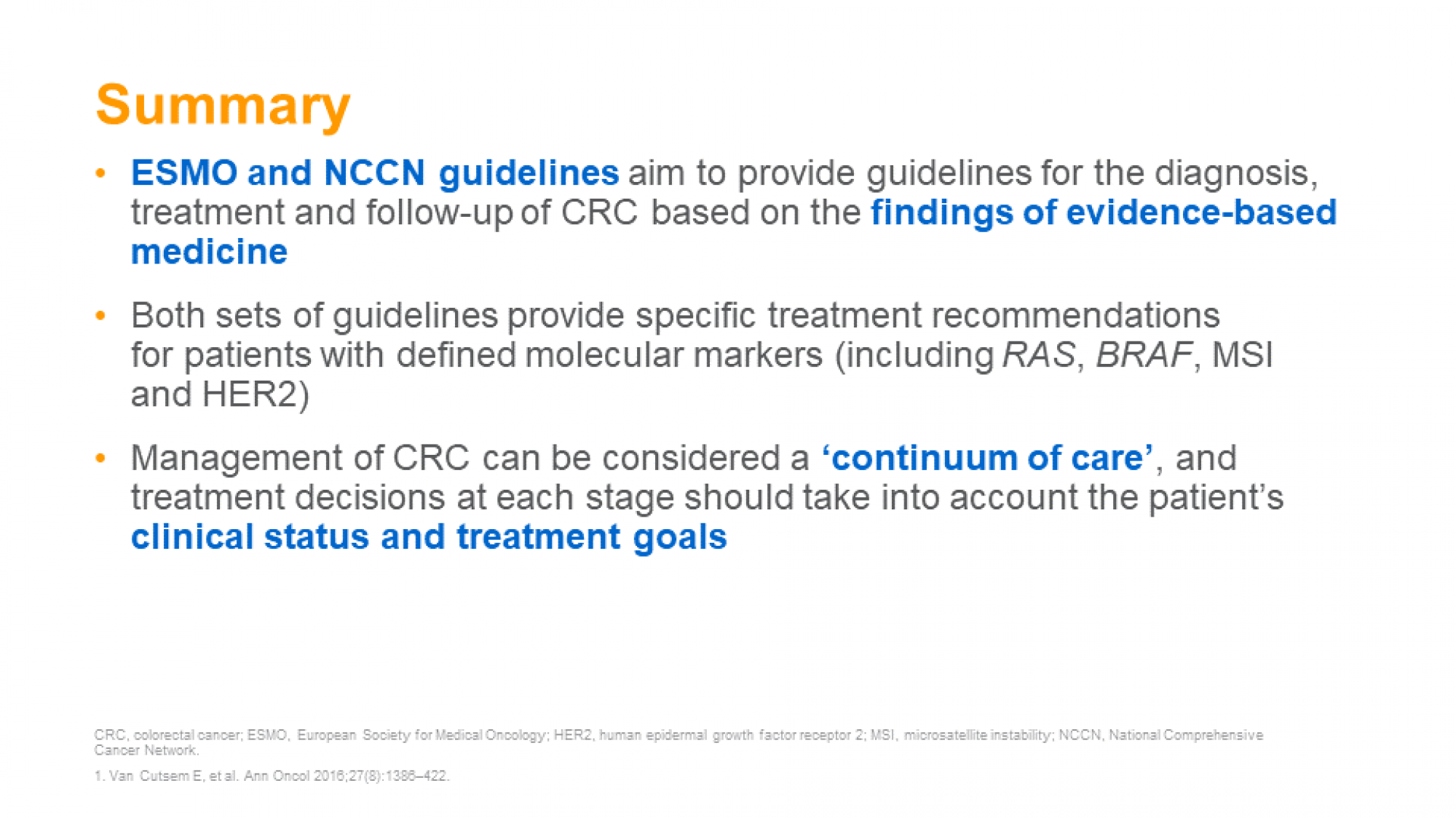 CRC: treatment guidelines